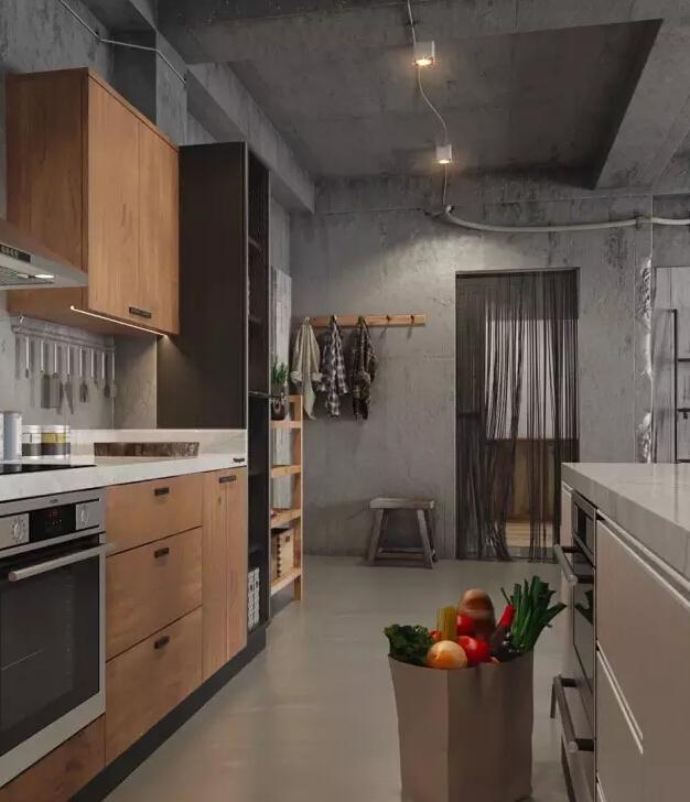 厨房墙面远看似乎也是水泥墙,其实是仿水泥纹理的灰色瓷砖装饰.